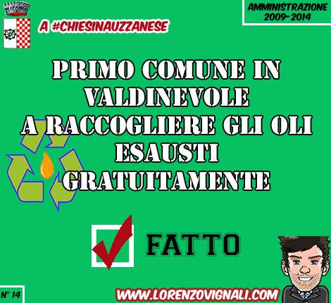 Primo Comune in Valdinievole a raccogliere gli oli esausti gratuitamente.