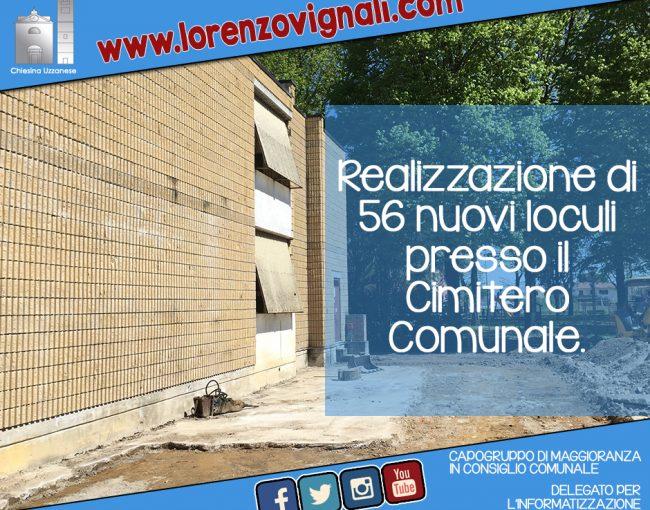 Realizzazione di 56 nuovi loculi presso il Cimitero Comunale.