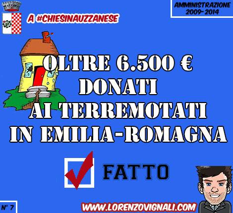 Oltre 6.500€ donati ai terremotati in Emilia-Romagna.