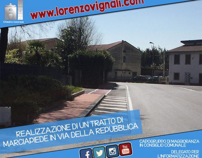 Realizzazione di un tratto di marciapiede in Via della Repubblica.